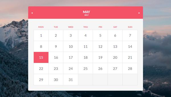 Calendar Design Css : Beautiful css calendar code snippet ginva