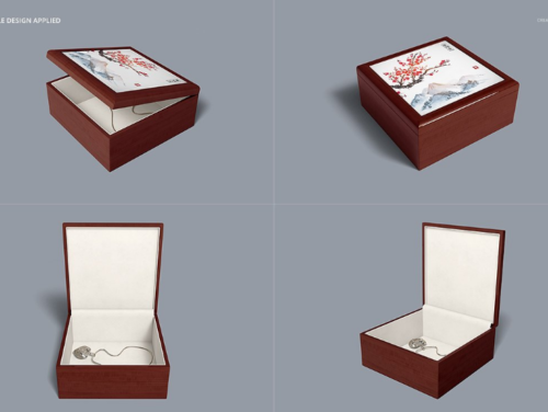 Tiled Wood Jewelry Box Mockup