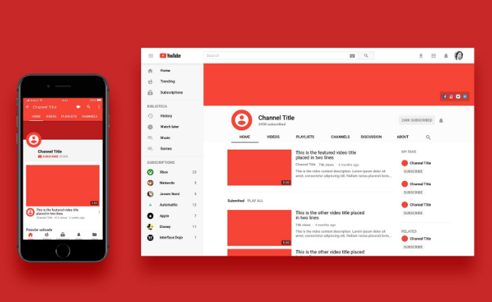 8 free youtube mockup psd templates