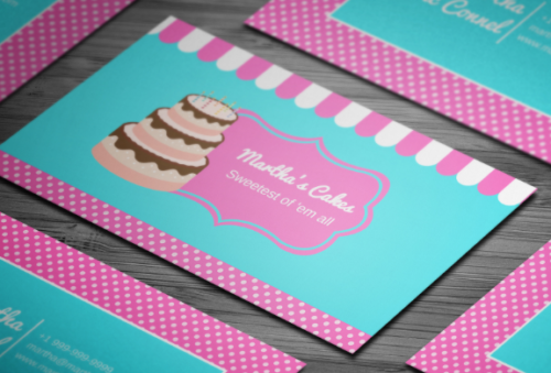 editable_party_cake_business_card