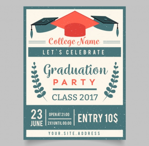 free_retro_graduation_party_invitation