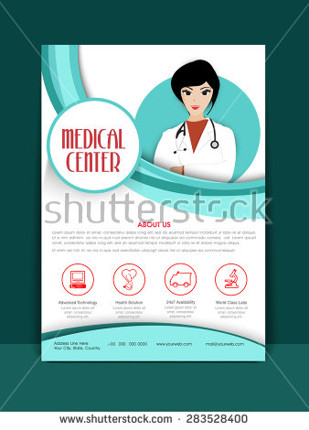 medical_center_flyer_or_brochure_layout_with_illustration_of_a_young_female_doctor