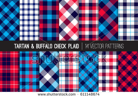 patriotic_red_white_blue_tartan_and_buffalo_check_plaid_vector_patterns
