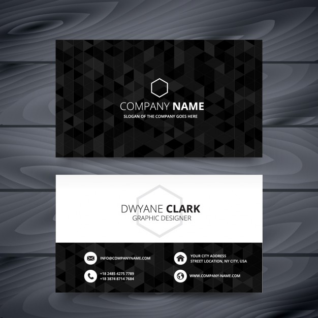 black_polygonal_business_card