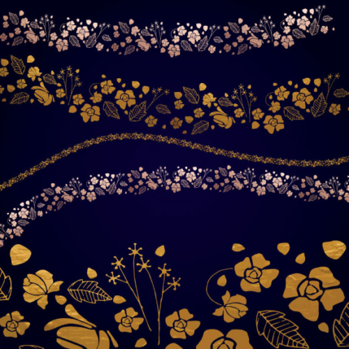 spread_golden_flowers_floral_brushes