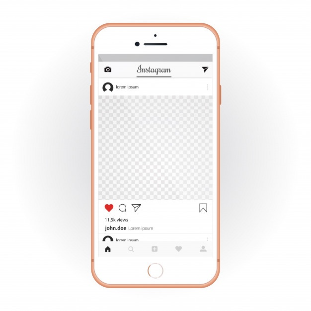 iphone_with_mobile_ui_kit_instagram_smartphone_mockup_and_chat_app