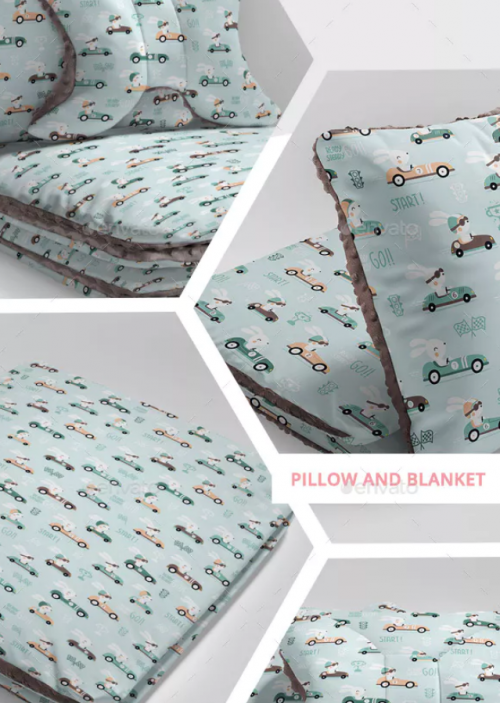 Minky Pillows and Blanket Pattern Design Mockup Set