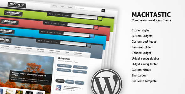 Machtastic - Commercial WordPress Theme  - ThemeForest Item for Sale