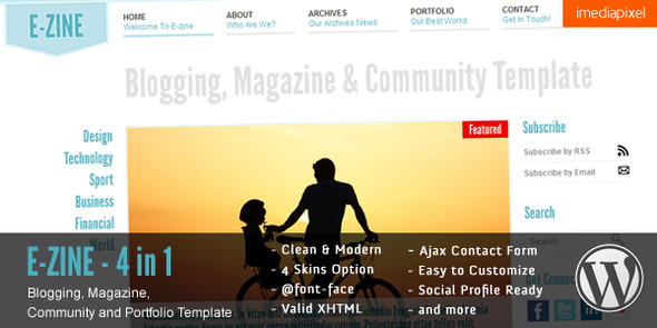 EZINE - 4 in 1 WordPress Theme Download